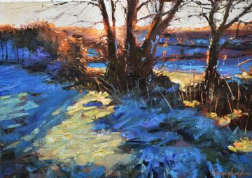Jeremy Sanders Original Oil Painting Winter Landscape Chyenhal Near Penzance Cornwall
